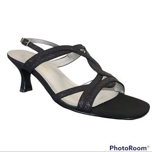 Naturalizer Sparkly Crystal Black Strappy Heeled Sandals